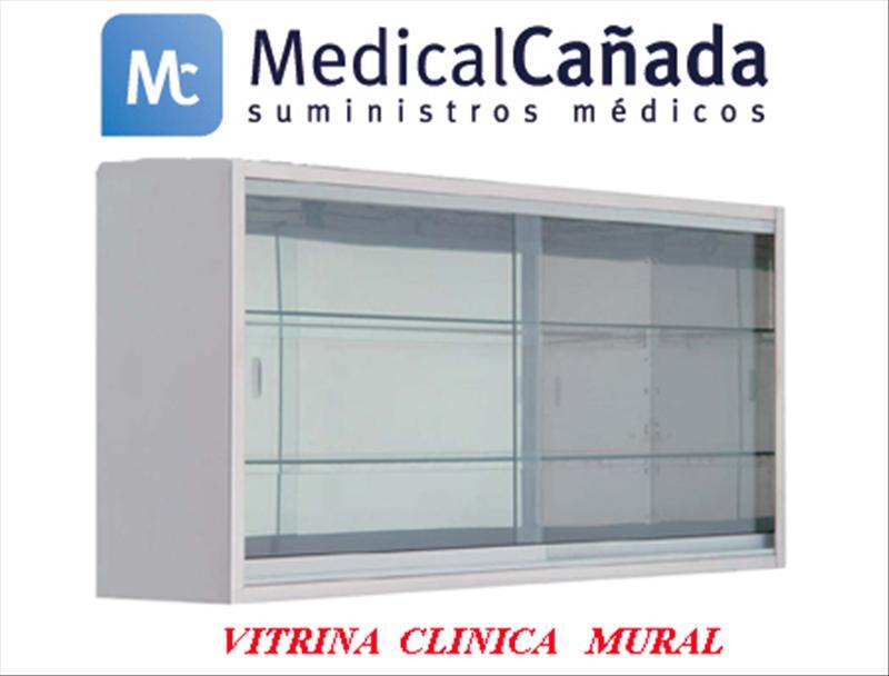Vitrina Clinica Mural Acero Inoxidable Con Puertas Correderas Cristal 2  Entrepaños Cristal Fijos 120