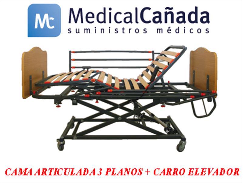 Cama articulada 4 planos + carro elev + barandillas + cab/pie melanina 90  x 190 cm