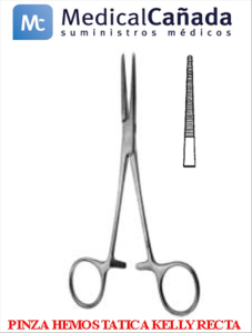 Pinza hemostatica kelly recta 14 cm acero inoxidable